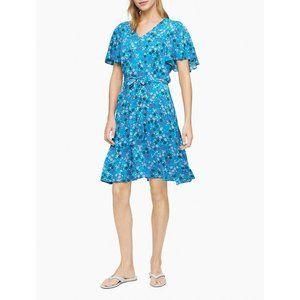 Calvin Klein Size 10 V-Neck Tie-Waist Dress Floral